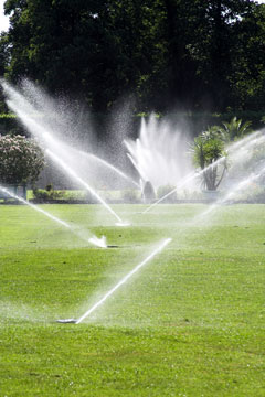 landscape irrigation system - watering a lawn